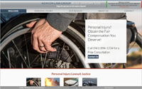 Home page screen shot of Kenyon Law website with hero slider displaying auto accident